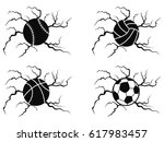 balls cracking icons set | Shutterstock .eps vector #617983457