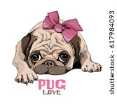 pug puppy with a pink bow.... | Shutterstock .eps vector #617984093