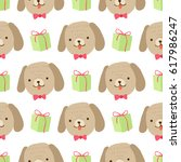 cute dog with gift. vector... | Shutterstock .eps vector #617986247
