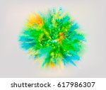 a colored explosion of powder.... | Shutterstock .eps vector #617986307