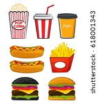 vector set of fastfood with... | Shutterstock .eps vector #618001343