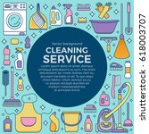 household cleaning supplies... | Shutterstock .eps vector #618003707