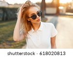 beautiful young woman in... | Shutterstock . vector #618020813