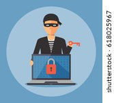 cyber thief holding key to... | Shutterstock .eps vector #618025967