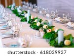 wedding table settings. | Shutterstock . vector #618029927