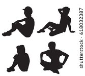 set of silhouettes of a... | Shutterstock .eps vector #618032387