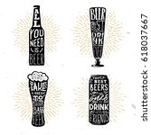 set of four beer themed... | Shutterstock .eps vector #618037667