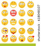 set of cute emoticons. emoji... | Shutterstock .eps vector #618048107