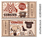vintage circus show advertising ... | Shutterstock .eps vector #618048683