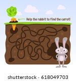 help the rabbit to find the... | Shutterstock .eps vector #618049703