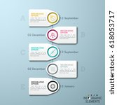 vertical timeline with 5... | Shutterstock .eps vector #618053717