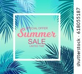 summer sale background vector... | Shutterstock .eps vector #618055187