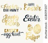 set of hand written happy... | Shutterstock .eps vector #618059207