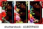 three template cards with roses ... | Shutterstock .eps vector #618059603