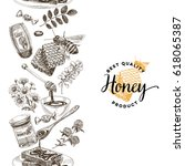 vector hand drawn honey... | Shutterstock .eps vector #618065387
