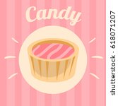 candy on pink background.... | Shutterstock .eps vector #618071207