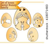 set of icons family the easter... | Shutterstock .eps vector #618071483