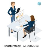 isometric people working in... | Shutterstock .eps vector #618082013