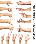 multiple male caucasian hand... | Shutterstock . vector #618091487