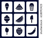 sweet icon. set of 9 filled...   Shutterstock .eps vector #618092423