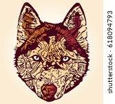 stylized dog portrait in orange ... | Shutterstock .eps vector #618094793