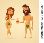 adam and eve characters. woman... | Shutterstock .eps vector #618101087