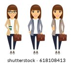 a young girl in a business suit.... | Shutterstock .eps vector #618108413