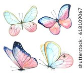 collection watercolor of flying ... | Shutterstock . vector #618109067