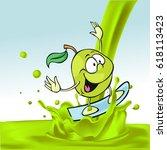 green apple cartoon surfing on... | Shutterstock .eps vector #618113423