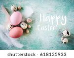 happy easter greeting card | Shutterstock . vector #618125933
