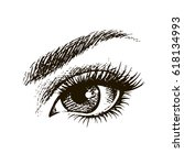 hand drawn beautiful female eye. | Shutterstock .eps vector #618134993