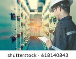 double exposure of  engineer or ... | Shutterstock . vector #618140843