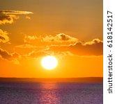 day starts large sun  | Shutterstock . vector #618142517