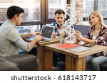 pleasant involved students... | Shutterstock . vector #618143717