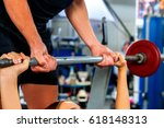 fitness friends workout gym.... | Shutterstock . vector #618148313