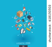 logistic integrated 3d web... | Shutterstock .eps vector #618150503