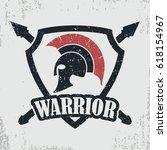 spartan warrior grunge stamp.... | Shutterstock .eps vector #618154967