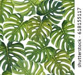 tropical pattern with large... | Shutterstock . vector #618155117