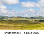 farm road  field and hill in... | Shutterstock . vector #618158003
