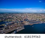 city aerial view over amsterdam ... | Shutterstock . vector #618159563