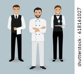 chef cook and two waiters in... | Shutterstock .eps vector #618161027