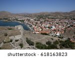 the town of myrina and ... | Shutterstock . vector #618163823