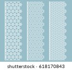 set of 3 lace seamless borders  ... | Shutterstock .eps vector #618170843