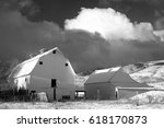 Black And White Barn In Rural...