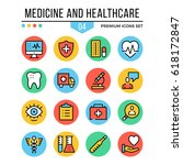 medicine and healthcare icons.... | Shutterstock .eps vector #618172847