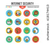 internet security icons. modern ... | Shutterstock .eps vector #618174413
