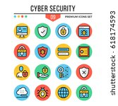 cyber security icons. modern...