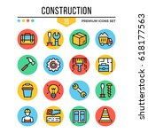 construction icons. modern thin ...