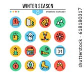winter season icons. modern...