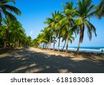 road to the beach with palm... | Shutterstock . vector #618183083